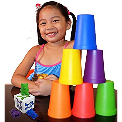 Skoolzy Fine Motor Skills Toys - Sensory Bin Color Sorting Toys for Toddlers Tools Set - Rainbow Cups, Dice and Scoop Tongs for Kids 15pc Montessori Materials Kit: Toys & Games