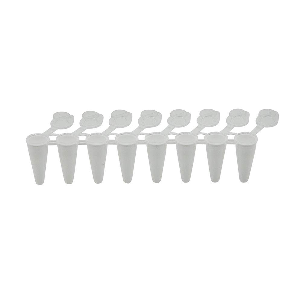0.1ml 8-Strip PCR Tubes, Low Profile, White, Individual Attached Flat Caps, 120 Strips/Unit by Olympus Plastics