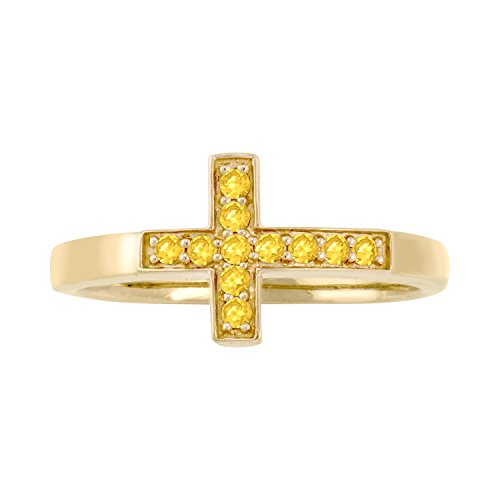 ArtCarved Crossing Simulated Citrine November Birthstone Ring, 10K Yellow Gold, Size 10