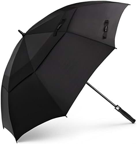 Golf Umbrella 62 Inch Oversize, SHINE HAI Automatic Open Double Canopy Vented Windproof Waterproof Sun Protection Stick Umbrellas, Black