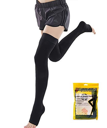 - Ailaka Open Toe Thigh High 20-30 mmHg Compression Stockings for Women and Men, Firm Support Graduated Varicose Veins Socks, Travel, Casual-Formal Hosiery (Black, Large)