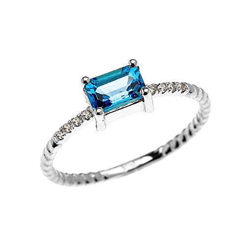10k White Gold Diamond and Emerald Cut Solitaire Blue Topaz Dainty Promise/Engagement Ring(Size (Blue Topaz Ring Free Ship)