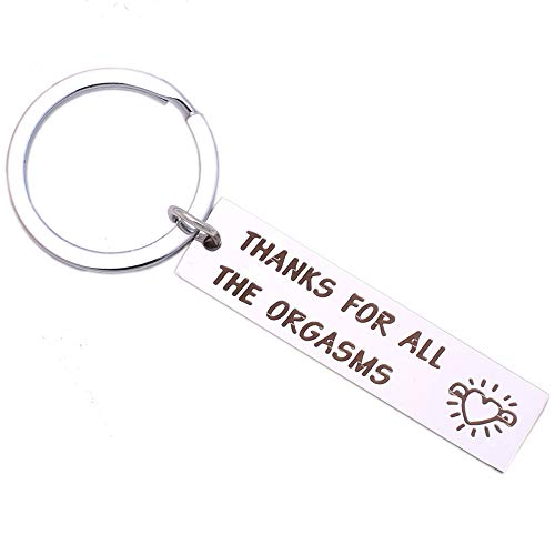Funny Stainless Steel Keychain for Boyfriend Husband, Naughty Couple Gift, Thanks for All The Orgasms