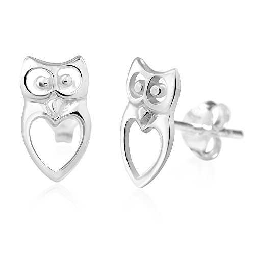 925 Sterling Silver Cut Open Owl Heart Love Post Stud - Open Cute Heart