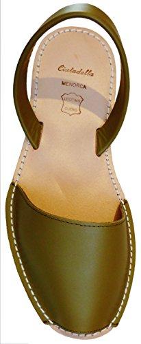 Menorca Authentic Avarcas Menorquinas, Menorcan Sandals with Beige Sole, Rubber Sole, Various Colors, Abarcas, Albarcas, Sandals Verde kaki box con suela beige