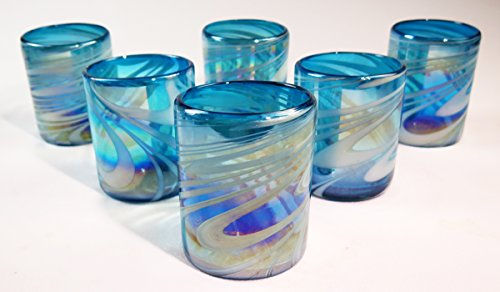 Mexican Glass Hand Blown, Turquoise & White Iridescent Swirl, Set of ()