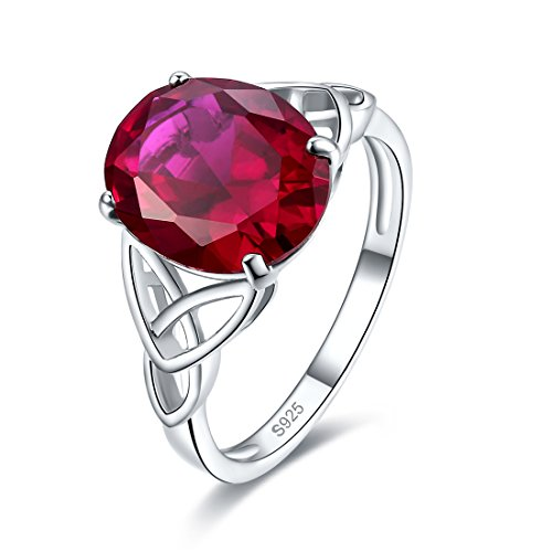 Celtic Ruby - Merthus Womens 925 Sterling Silver Created Ruby Celtic Knot Ring