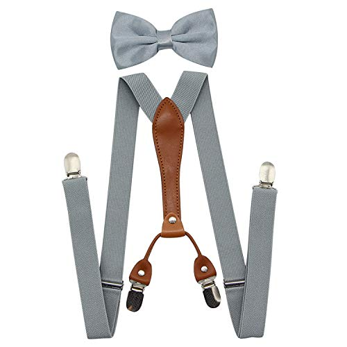 Suspenders For Men,Women Adjustable Suspends Bow Tie Set Solid Color Y Shape (Gray-Leather)