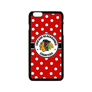 Chicago Blackhawks Polka Dots design on a Black Iphone 6 4.7 Shell Case Cover (Laser Technology)