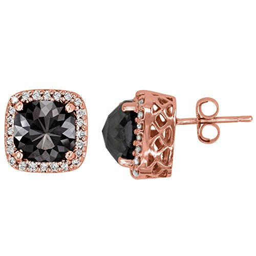 8.90 Carat Total Weight Black Diamond with 0.40ct White Diamond Halo Stud Earrings in 14k Rose Gold