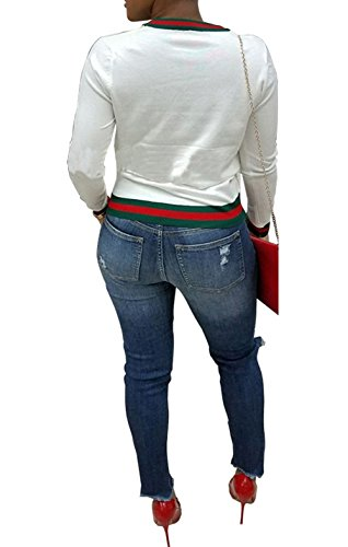 Fashion et Blanc Jumpers Rond Slim Onlyoustyle Femmes Printemps T Pulls Casual Blouse Hauts Shirts Longues Manches Automne Shirt Col Patchwork Pullover Sweat Tops wxC5B5Zq7