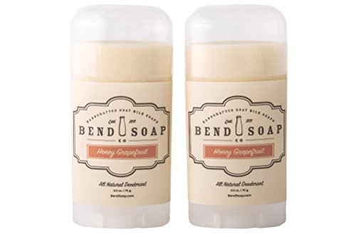 Bend Soap Company All Natural Deodorant Stick – Aluminum Chlorohydrate Free Antiperspirant With Essential Oils, Coconut Oil and More (2 - Pack, Honey & Grapefruit Fragrance)