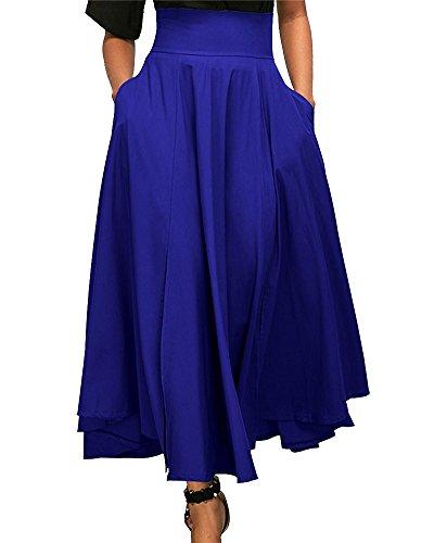 e23dc15759 Cintura De Mujeres Azul Completa Longitud Ceñido Plisada Slit Swing Faldas  Maxi Falda Alta pEwB5