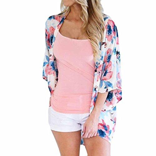 Vanvler Women Chiffon Cardigan | Floral Kimono Blouse | Loose Shirt Casual Shawl Clearance ! (2XL, Pink) (Chiffon Tuxedo)