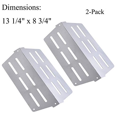 GasSaf Heat Deflector Replacement for Weber Genesis 300 Series Grill,Weber 7622,65505, 62756(2011&Newer Model) Front Mounted Control Panels,2 Pack Stainless Steel Heat Plate(13 1/4 x 8 3/4)
