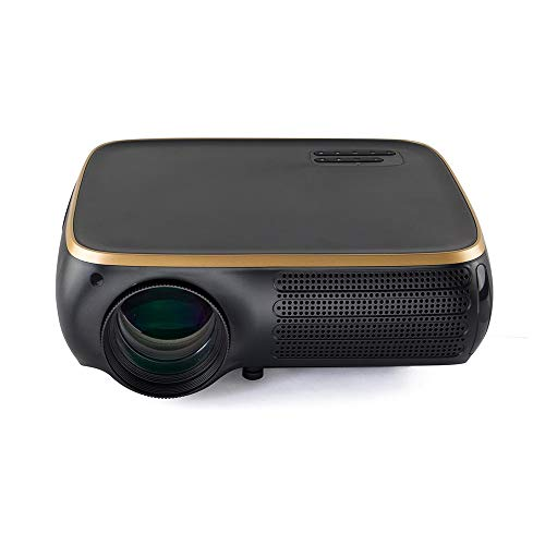 Portable Movie Projector LCD Projector 950 Lumens 1920X1080dpi 1080P 4K HD 3D LED Projector 8G Support for Linux System (Color : Black Gold, Size : One Size)