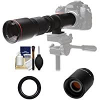 Vivitar 500mm f/8.0 Telephoto Lens with 2x Teleconverter (=1000mm) + Accessory Kit for Canon EOS 60D, 6D, 7D, 5D Mark II III, Rebel T3, T3i, T4i Digital SLR Cameras