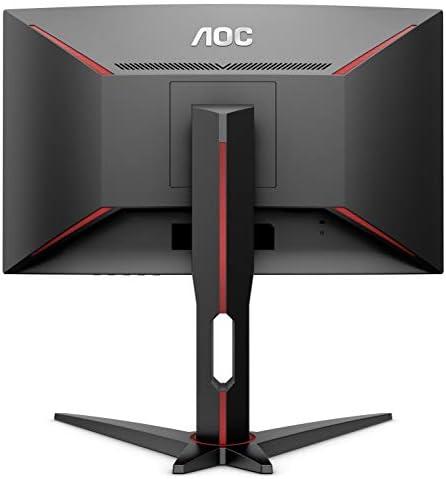 AOC CQ27G1 27″ Curved Frameless Gaming Monitor QHD/2K, 1ms, 144Hz, FreeSync, DisplayPort/HDMI/VGA, Height adjustable, 3-Year Zero-Bright Dot, Black/Red 41w3lNqkV6L