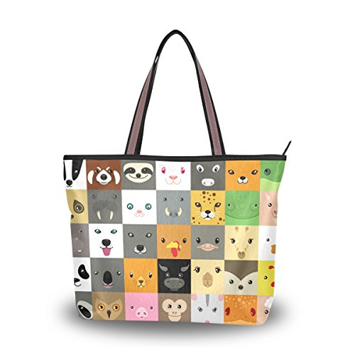 tout Grand Animal Sac Emoji Alaza À Main Faces Fourre Mignon D'épaule q4ETgvw