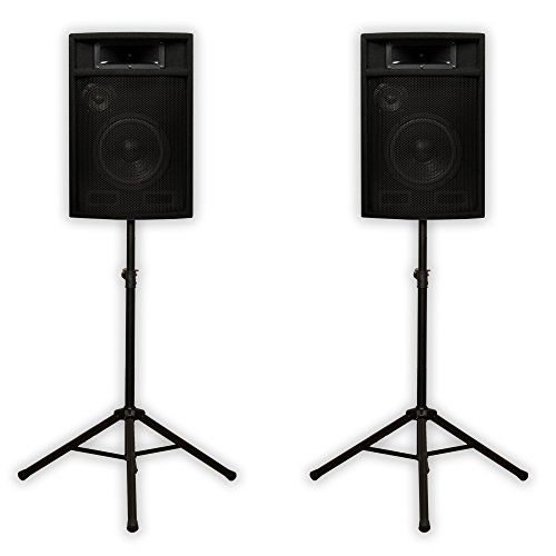 "Acoustic Audio PA-380X Passive 8"" DJ Speakers and Stands PA Karaoke 3-Way Studio Home Audio"