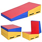 Giantex Incline Gymnastics Mat Wedge Folding and Non-Folding Gymnastics Gym Fitness Skill Shape Tumbling Mat for Kids Play Home Exercise Aerobics (Red/Blue/Yellow)