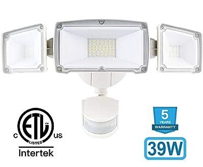 Amico 39W 3 Head LED Security-Lights Motion Outdoor, Motion Sensor Light Outdoor, 3500 Lumens 6000k Waterproof IP65 ETL, Motion-Sensor-Flood LightExterior Security Light led