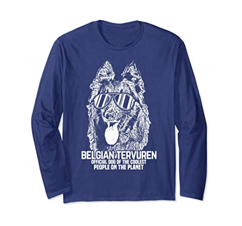 Unisex Belgian Tervuren Official Dog Longsleeve T-Shirt Large Navy