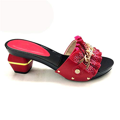 Royal Blue Italian Ladies Sexy High Heels Pumps Rhinestones Ladies Pumps African Sandal Shoe for Party Red 38