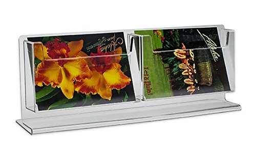 - Source One 2 Pocket Counter Top Deluxe Clear Postcard Holder Stand Rack ...