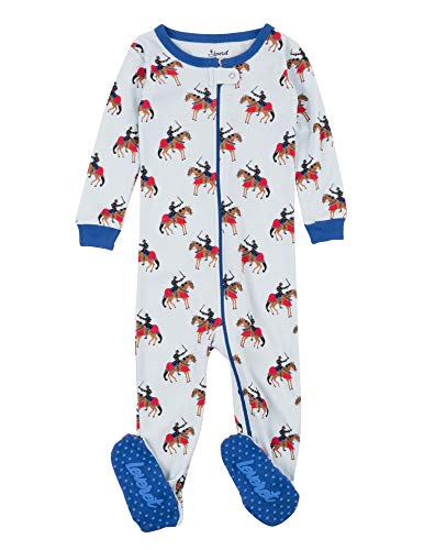 (Leveret Kids Pajamas Baby Boys Girls Footed Pajamas Sleeper 100% Cotton (Knight, Size 6-12)
