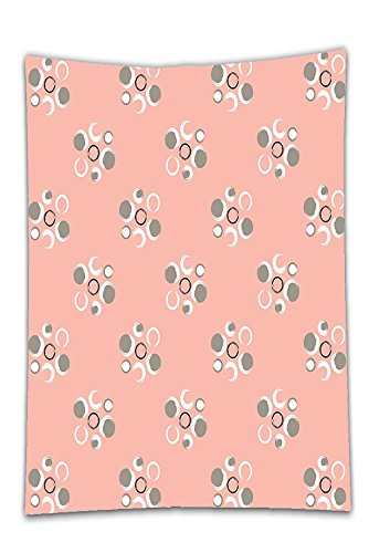 Interestlee Satin drill Tablecloth?Coral Decor Retro Brushstroke Circle Flowers with Several Fragrant Separate Rounds Art Paint Pink Grey Dining Room Kitchen Rectangular Table Cover Home Decor (Octagon Table Cloth)