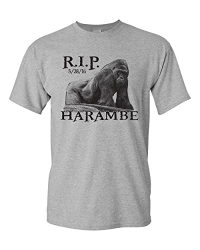 Jacted Up Tees Harambe The Gorilla RIP Cincinnati Zoo Men's T-Shirt - XL Sport Gray (1419)