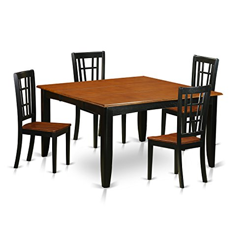 East West Furniture PFNI5-BCH-W 5 Piece Dining Table and 4 Wooden Chairs Set, Black/Cherry Finish