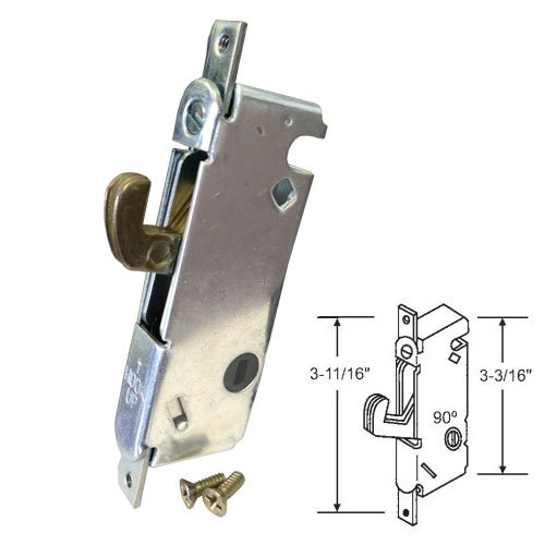 "STB Sliding Glass Patio Door Lock, Mortise Type, 90 Degree Keyway, 3-11/16"" Screw Holes"