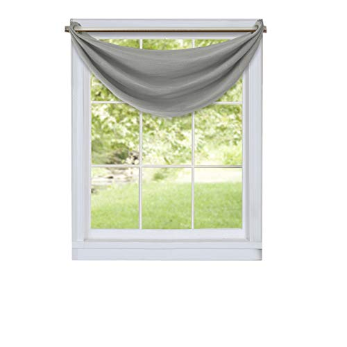 Elrene Brooke Woven Faux Silk Solid Color Blackout Room Darkening and Thermal Insulating Window Curtain/Waterfall Valance, Gray