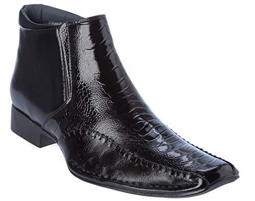prague02 Mens Oxford Style Western Boots Black Dress-Shoes Size 9 Adult Black Platform Boots