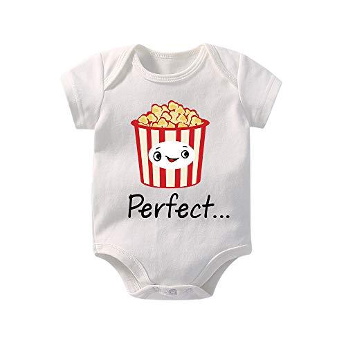 YSCULBUTOL Unisex Baby Bodysuit Newborns Toddler Short Sleeve T-Shirt Pair with Boy Girl Tee Shirts Bodysuits Popcorn 0-3 Months