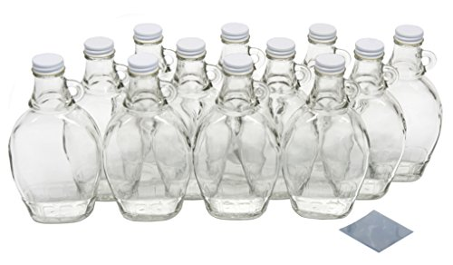 (North Mountain Supply 8 Ounce Glass Maple Syrup Bottles with Loop Handle & White Metal Lids & Shrink Bands - Case of 12)