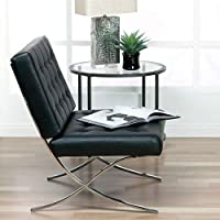 Studio Designs 72008 Bonded Leather Atrium Accent Chair, Black