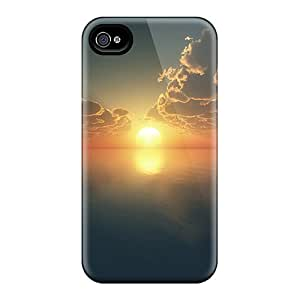 Premium Iphone 4/4s Case - Protective Skin - High Quality For Ocean Sunset Retro Effect