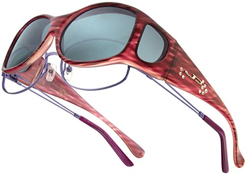 Fitovers Eyewear Glides Sunglasses with Swarovski Crystals (Red Licorice, Polarvue - Glide Sunglasses