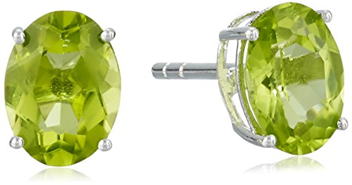 Sterling Silver Peridot Oval Earrings