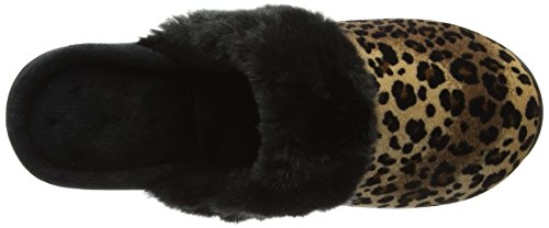 Isotoner Heeled Velour Slippers, Chaussons Mules Femme Multicolore (Animal W/blk)