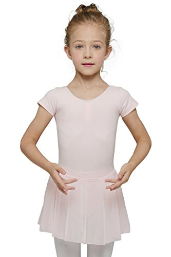 - Dance Leotard for Girls with Skirt (Tag 120) Age 4-6, Ballet Pink)