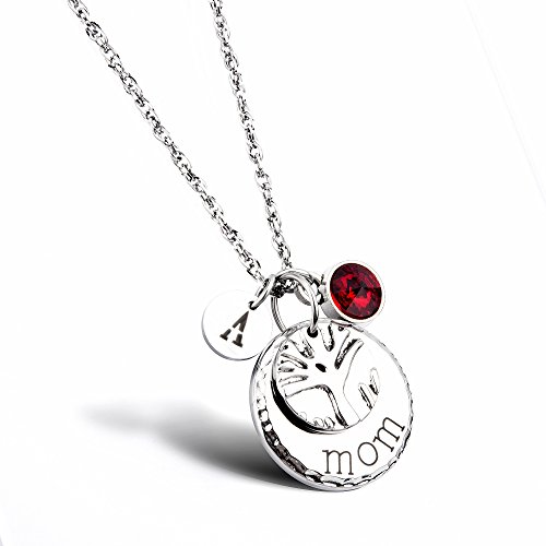 Mom Family Tree Necklace Personalized Mother Necklace with Birthstones Crystal Initial Charm Christmas Gift for Mom Wife Aunt Grandma Mother's Day Gift