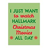 Tobe Yours I Just Want to Watch Hallmark Christmas Movies All Day - Snowflakes Velvet Plush Fleece Super Soft Cozy Bedroom/Couch/Sofa Throw Blanket 58x80 inch(Large) (Two Sides)
