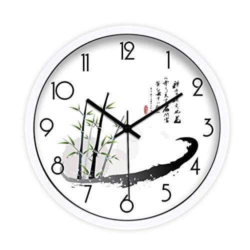 Jia Jia Wall Clock-Creative Art Chinese Ink Bamboo Calligraphy Mute Living Room Clock Clock Wall Clock Quartz Clock Modern Living Room Wall Clock (Color : B, Size : 12 ()