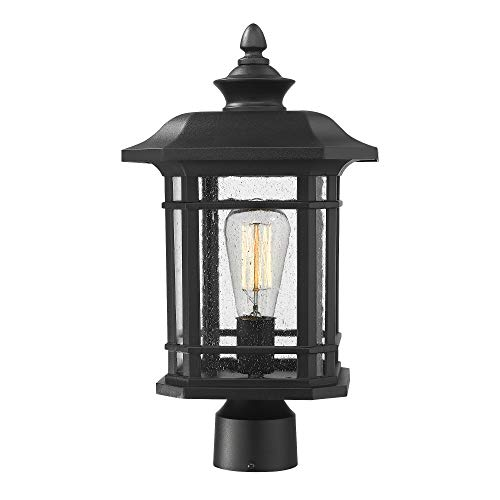 Emliviar Outdoor Post Lighting Fixture 17 inch, 1-Light Exterior Post Light in Black Finish with Seeded Glass, - Column Light Outdoor