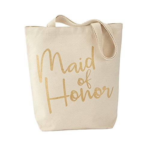 Mud Pie Canvas Bridal Party Tote Bag, Maid (Of Honor Maid Tote)