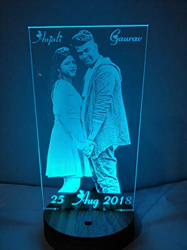 Wood Glass Acrylic Personalised Led Lamp (Brown_9 X 5 X 4 Inch)